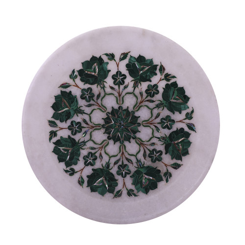 Home Decorative White Marble Inlay Plate Inlaid With Malachite Gemstone