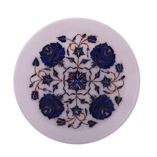 White Marble Wall Plate Pietra Dura Semiprecious Stones