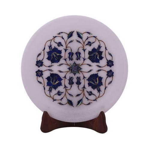 White Marble Inlay Plate Pietra Dura Lapislazuli Gemstone