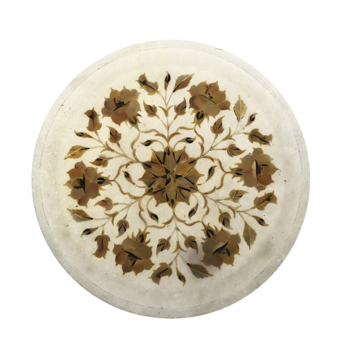 Home Decor White Marble Wall Plate Inlaid With Mother of Pearl Stone