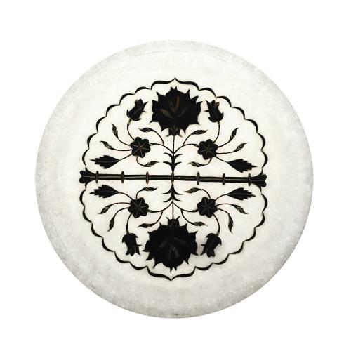 Handmade White Marble Wall Plate Inlaid With Black Onyx Gemstone