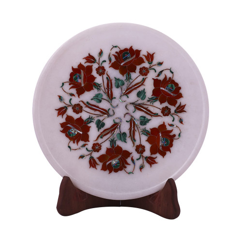 Rose Flower Decorative White Marble Inlay Plate For Home