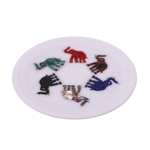 Elephant Inlaid White Marble Wall Plate
