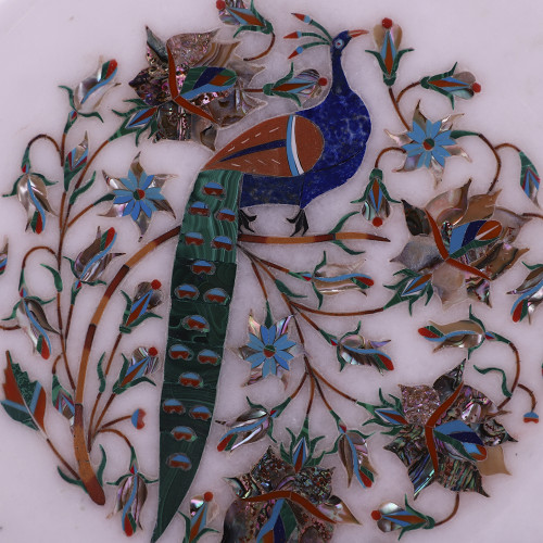 Peacock Decorative White Marble Inlay Plate