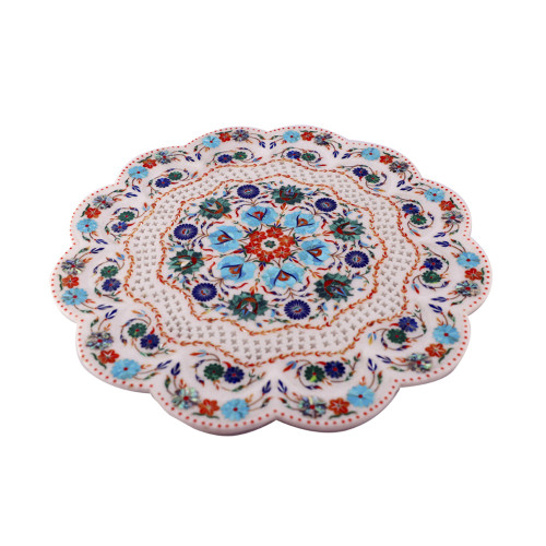 Decorative White Marble Inlay Plate For Home Decor