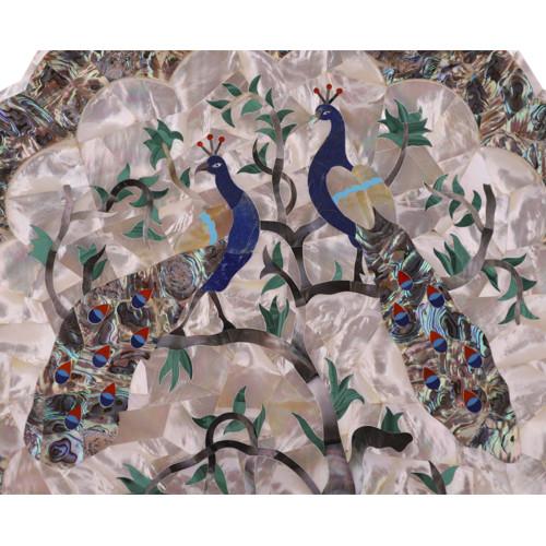 Beautiful Modern Design Inlay Indian Peacock Marble Wall Plate
