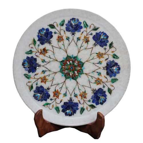 Antique White Marble Plate Inlaid Lapis Lazuli Stone