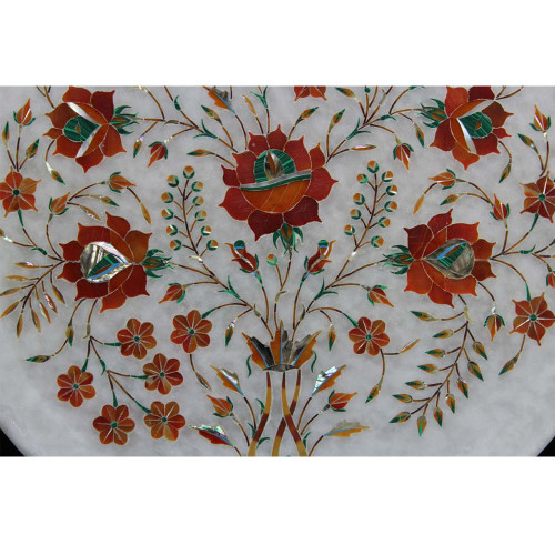 Antique Floral Design Inlay Wall Decorative Plate