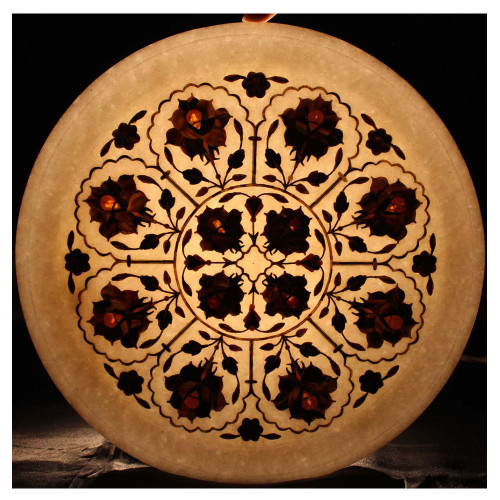 Wall Decorative White Marble Tray Inlaid Carnelian Gemstone