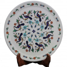 Marquetry Art Inlay White Marble Wall Decorative Plate