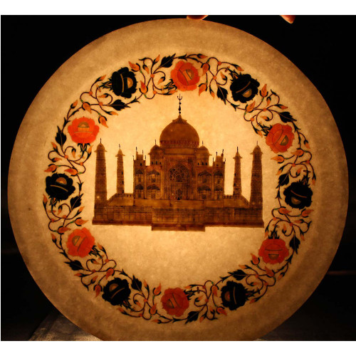 Wall Decorative White Marble Plate Inlay Pietra Dura Art