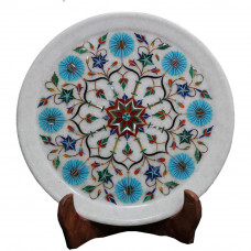 Real Gemstone Inlaid White Marble Home Decorative Plate