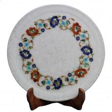 Unique Handmade White Marble Decorative Plate For Home Decor