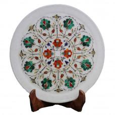 Handmade Malachite Gemstone Inlaid White Marble Plate