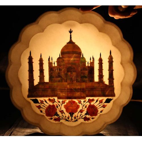 Taj Mahal Art Inlay White Marble Decorative Tray