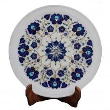 Home Decorative White Marble Plate Inlaid Lapislazuli Stone