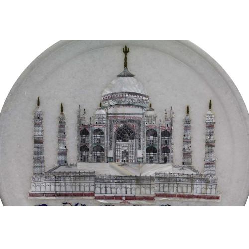 Seven Wonder Taj Mahal Inlaid White Marble Wall Decorative Plate