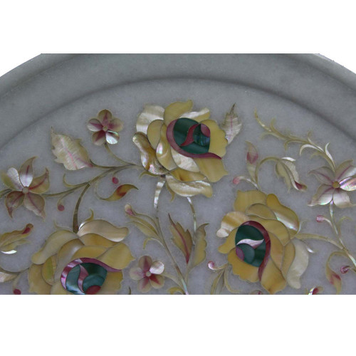 Marquetry Art Inlay White Marble Wall Decorative Plates