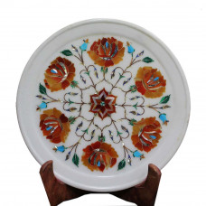 Antique Mid Century Art Inlay White Marble Wall Plate
