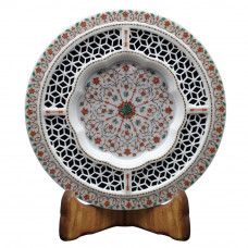 Handicrafts Paradise Marble Round Decorative Plate Floral Work