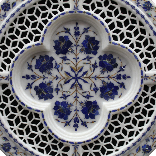Beautiful Floral Design Inlay White Marble Plate