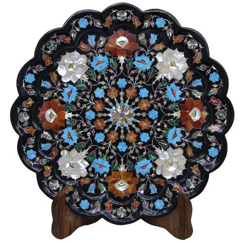 Antique Black Marble Plate Beautiful Pietra Dura Work