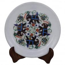 White Marble Plate Elephant Pietra Dura Work