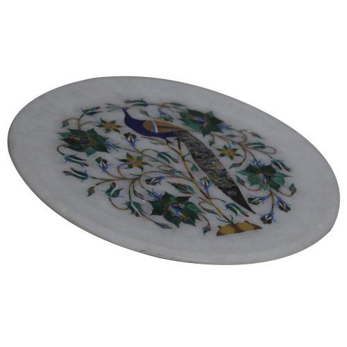 White Marble Plate Beautiful Peacock Stone Work
