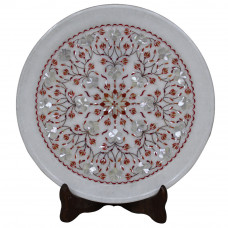 Beautiful White Marble Plate Inlaid Semi Precious Stones