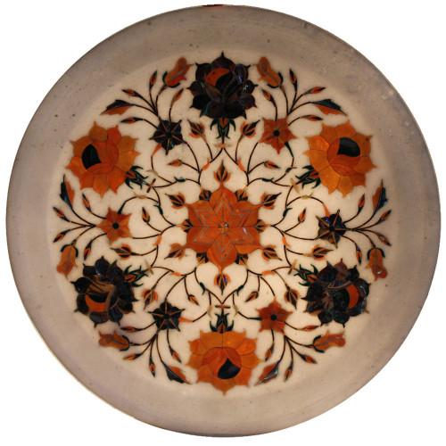 Round White Marble Plaque Inlaid Semi Precious Stones