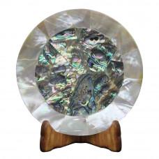 Beautiful White Marble Plate Pietra Dura Paua Shell