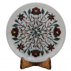 Round White Marble Inlay Plate Floral Pietra Dura