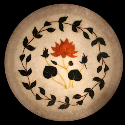 White Marble Inlay Decorative Plate Floral Design