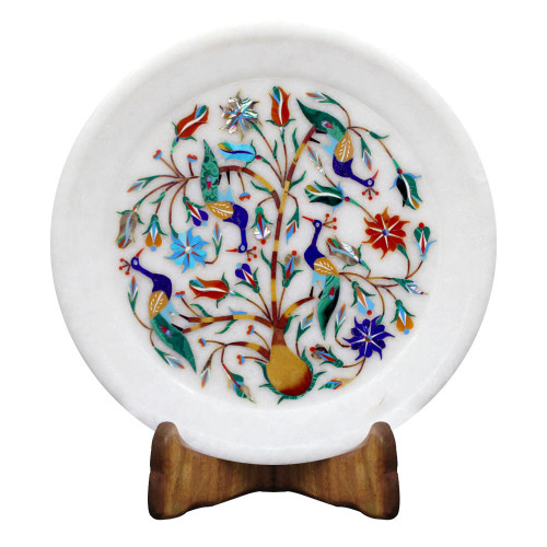 Decorative Round White Marble Peacock Pietra Dura Wall Plate