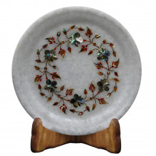 Decorative Round White Marble Plate For Home Decor