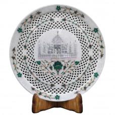 Antique White Marble Tajmahal Plate Filigree Work