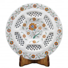 Floral Design White Marble Inlay Plate Filigree Work