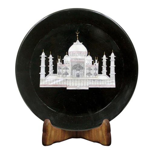 Tajmahal Design Inlay Black Marble Plate For Home Decor