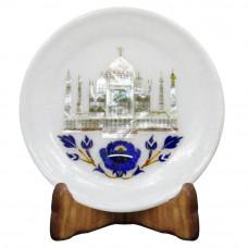 Tajmahal Inlay White Marble Wall Plate