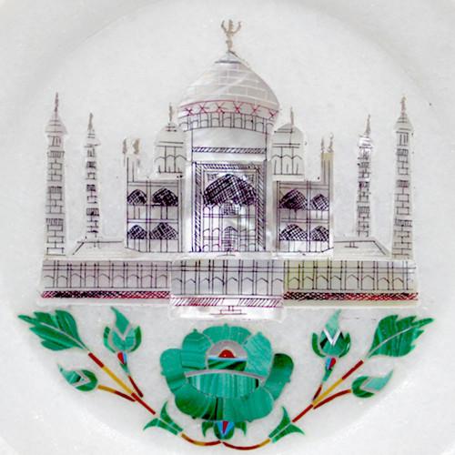 Tajmahal Inlaid White Marble Display Plate For Home Decor