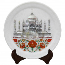 White Marble Wall Plate Tradition Tajmahal Inlay Art