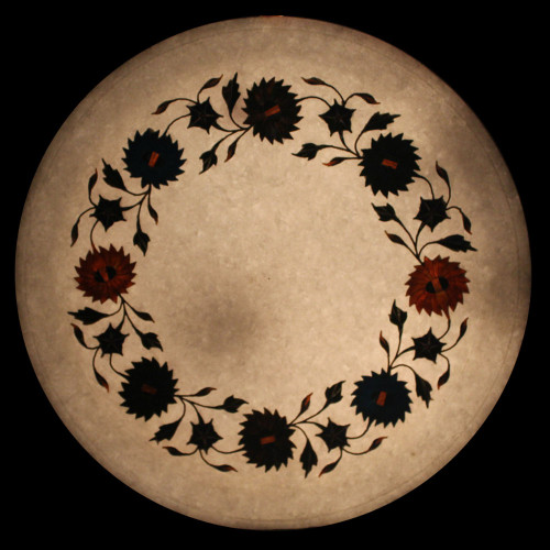 Round White Marble Wall Plate Inlaid Semi Precious Stones