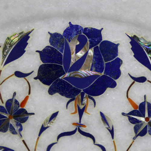 Round White Marble Inlay Wall Plate For Home Decor