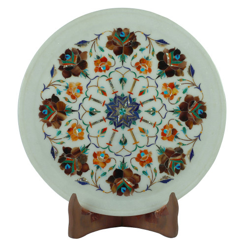 Decorative Wall Plate White Marble Inlay Stones