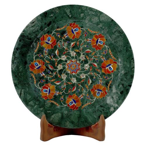 Green Marble Wall Plate Lotus Flower Design Semiprecious Stones