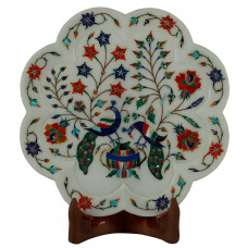 Wall Plate Decorated Peacock Design With Stones Work
