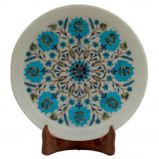 Turquoise Round White Marble Wall Plate Its A Unique Item