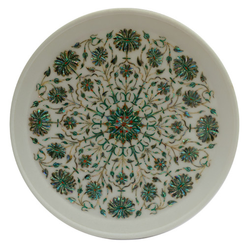 White Marble Round Wall Plate Great Mosaic Art Design