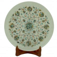 Mosaic Art Wall Plate Inlaid Semiprecious Stone Work
