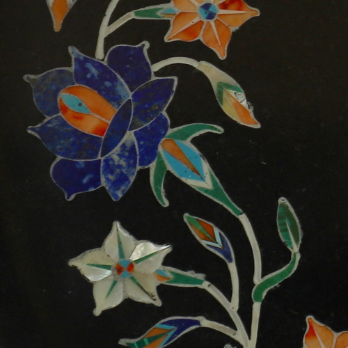 Black Marble Wall Plate Floral Design Best Use of Mother  Pearl Stone
